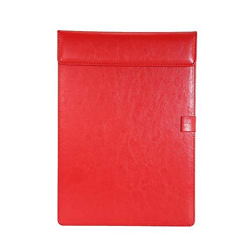 チーアン Tiann クリップファイル ボード a4 皮 クリップボードバインダーファイル クリップホルダー オフィス用品 革 軽量 用箋ばさみ 書類対応 カード類 領収書 レッド