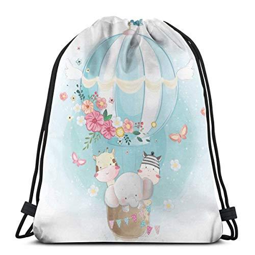 Bolso clásico con cordón de animales lindos globo de aire gimnasio mochila bolsas de hombro bolsa de almacenamiento deportivo para hombre mujer