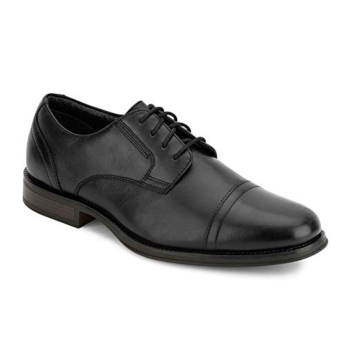 Dockers Mens Garfield Dress Cap Toe Oxford Shoe - Wide Widths Available, Black, 11 W