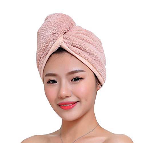 Fyore Ultra Absorbente Turbante para el Cabello Toalla de Secado rápido Anti Frizzy Microfibra Diseño Mujeres (Rosa)