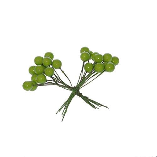 Decoratieve bessen aan draad – adventskrans – kerstversiering – bessentak – geschenkdecoratie – groen – ca. Ø 1 cm bessen x 7 cm draadlengte - 1 VE = 3 x 24 stuks - A106