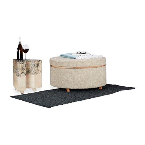 Native Home Table Basse Tabouret Convertible Repose-Pieds Console 2 en 1 HxlxP: 40 x 76 x 76 cm, Beige