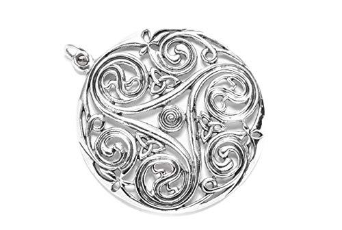 Windalf Vintage Bohemia Anhänger DANU Ø 5 cm Celtic Irischer Glüksamulett Triskele Lebens-Spiralen 925 Sterlingsilber