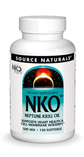 Source Naturals NKO Neptune Krill Oil 500mg Supports Heat Health & Cell Membrance Integrity EPA-DHA Omega-3 Fatty Acids Purest Quality Supplement Clinically Proven to Support Healthy Heart, Brain and Joints - Phospholipids - Antioxidants - 120 Softgels