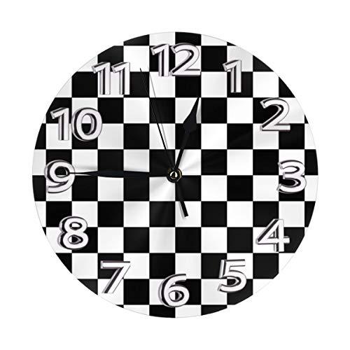 N/A zwart en wit vierkanten schaken 10 Inch ronde opknoping muur klok, batterij Operated,Rustieke muur Decor voor de woonkamer