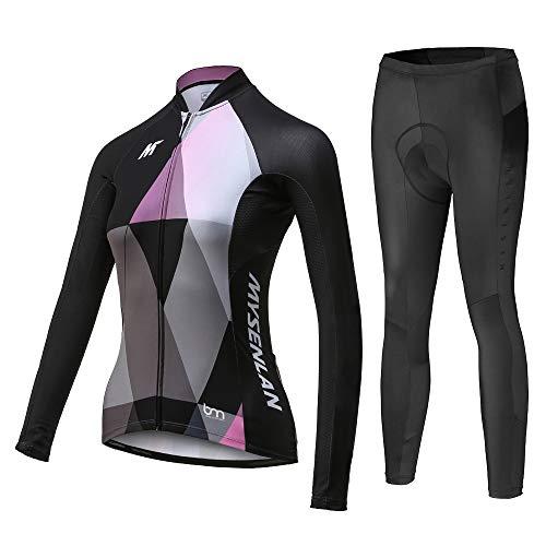 Maglia da donna da ciclismo in Jersey traspirante a manica lunga Mysenlan Completo pantaloni lunghi imbottiti 3D Camicia e Calzamaglia da bici - Nero - L
