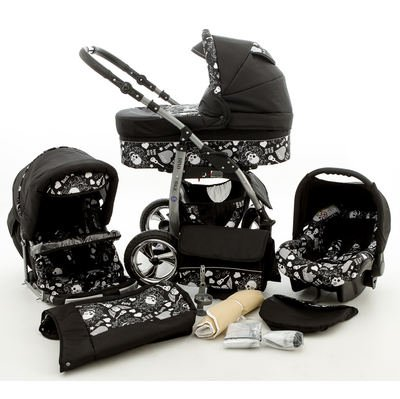 Chilly Kids Dino Kinderwagen Safety-Mega-Set (Winterfußsack, Sonnenschirm, Autositz & ISOFIX Basis, Regenschutz, Moskitonetz, Schwenkräder) 61 Schwarz & Schwarze Totenköpfe