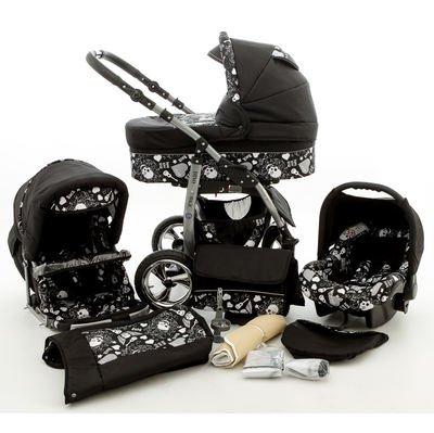 Chilly Kids 3-in-1 kinderwagen, set voorkant zwenkruiden dubbel geveerd autostoel buggy sportstoel babykuip babyschaal dino 61 zwarte en zwarte doodskoppen