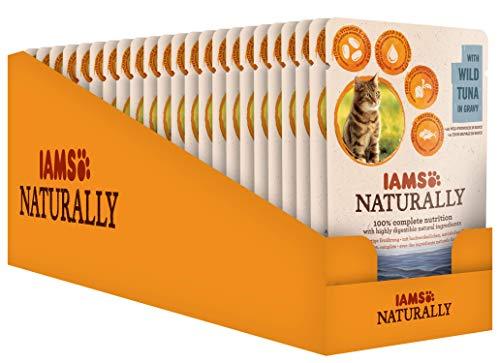 IAMS Naturally Chat Adulte Sachet Humide Thon Sauvage en Sauce 24 x 85 g