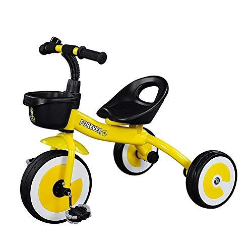 GYF Juguete Triciclo Niños Coche Antideslizante del Pedal Asiento Ajustable Cumpleaños 57X72X34CM Actual del Bebé Bicicleta Portátil Niños (Color : Yellow)