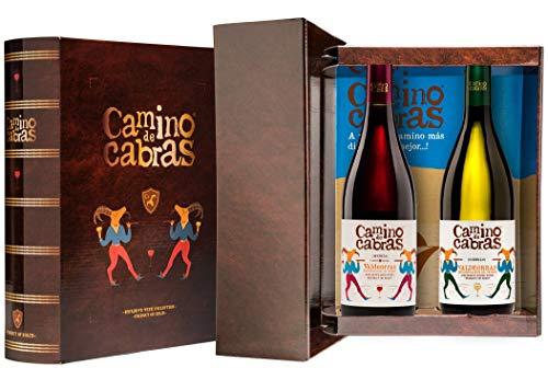CAMINO DE CABRAS Estuche de vino – Godello D.O. Valdeorras + Mencía Crianza D.O. Valdeorras - Vino tinto –Producto Gourmet - Vino para regalar - Vino Premium - 2 botellas x 75 ml.