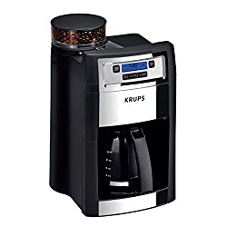 commercial KRUPS automatic coffee machine, integrated coffee grinder, 10 cups, black krups coffee makers