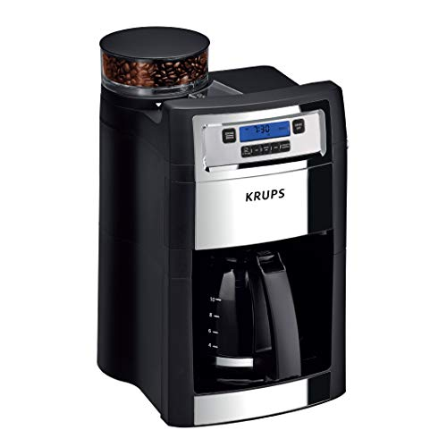 Save %50 Now! KRUPS Grind and Brew Auto-Start Maker with Builtin Burr Coffee Grinder, 10-Cups, Black
