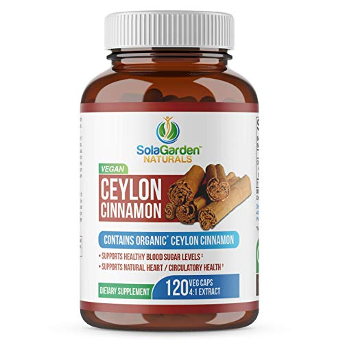 Ceylon Cinnamon Supplement (Contains Organic True Cinnamon) by LifeGarden Naturals. 120 Non GMO Veggie Capsules