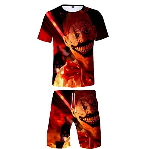 INSTO T-Shirt Kurze Hose 2 Stücke Einstellen Kreativ Halloween Gedruckt Fitness Tragen Zum Jungs Und Herren Mode Wild / A4 / L