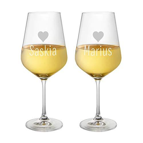 AMAVEL Set 2 Calici Vino Bianco in Vetro, Incisione Personalizzata con Nomi e Cuori, Idea Regalo per Coppie
