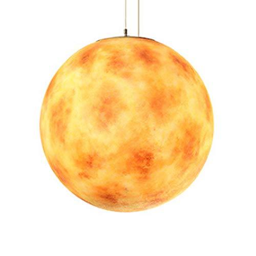 EWYY Moderne kreative Hand bemalt acht Planeten Anhänger Leuchte Wohnkultur Wohnzimmer Universum Harz E27 Pendelleuchte,Uranus,30cm