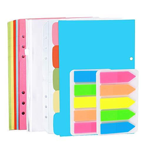 Homo Trends Juego de accesorios para cuaderno A5 rellenables, 1 paquete de 50 hojas de recambio personales+5 divisores de índice A5 + 2 bolsillos para carpetas+100 pestañas adhesivas