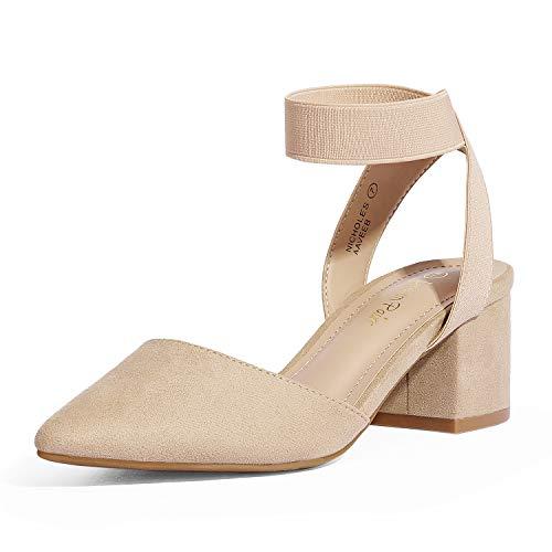DREAM PAIRS Women's Nude Suede Low Block Chunky Heel Ankle Strap Dress Pumps Shoes Size 8.5 M US NICHOLES