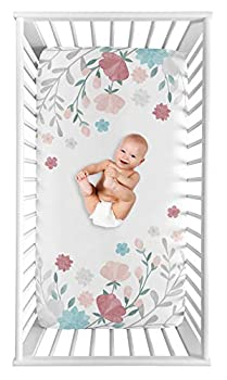 Sweet Jojo Designs Floral Rose Flowers Girl Fitted Crib Sheet Baby or Toddler Bed Nursery Photo Op - Blush Pink Teal Turquoise Aqua Blue Grey Pop Flower Boho Shabby Chic Modern Watercolor Roses