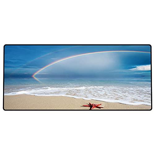 Alfombrilla de ratón para Juegos 600 x 300x3 mm,Decoración de Estrellas de mar, Arco Iris sobre Las Nubes del mar y Cielo despejado, espumosas OL Base de Goma Antideslizante, Adecuada para Jugadores