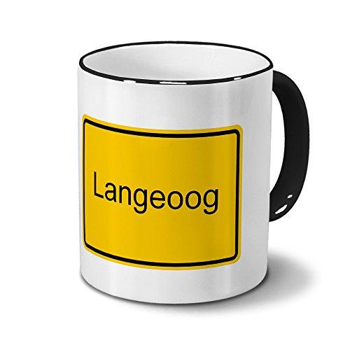 Städtetasse Langeoog - Design Ortsschild, Stadt-Tasse, City-Mug, Kaffeetasse - Becher Schwarz