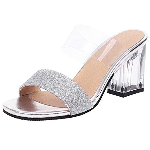NIGHT CHERRY Damen Mode Blockabsatz Sandalen Ohne Verschluss Party Kleid Schuhe Open Back Sandalen Silver Size 40 Asiatisch