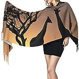 Bufanda de mantón Mujer Chales para, Sunset Giraffe Moda para mujer Mantón largo Invierno Cálido Bufanda grande Bufanda de cachemira
