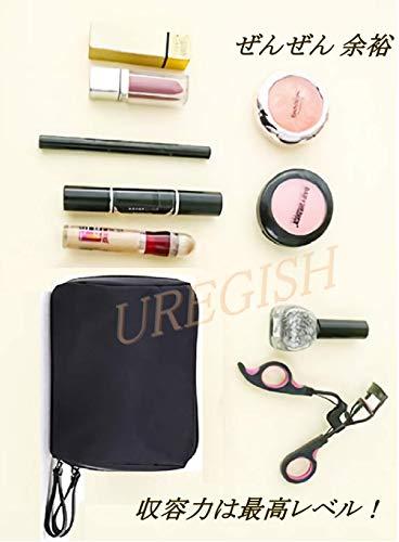 [ウレギッシュ]化粧ポーチコンパクトメイクポーチ化粧品化粧道具収納バッグ(ブラックinレッド)
