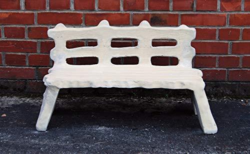 pompidu-living Steinbank - Steinbank in Antik Optik - Dekorative Sitzbank aus Steinguss für Figuren - Steinmöbel für Outdoor Weißgrau H 43cm