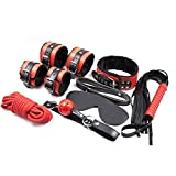 chengbaobaby Leather Suit Black and red Plush Seven-Piece Set red Board Black Strip Couple Game Role-Playing Props Costume Play (10m Rope)