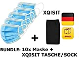 10x DECADE Mundschutz + Xqisit Tasche, 10er Pack, Einweg 3-lagig Gummizug Atemschutzmaske Staubschutz Maske EN14683