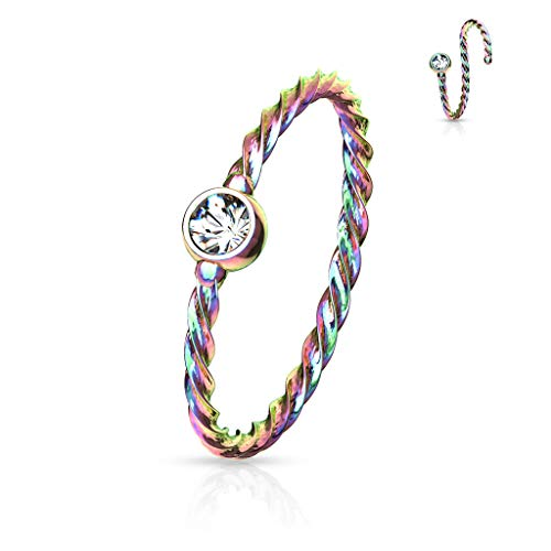 Multicolour Twisted Thin Ring Hoop Eyebrow Nose Ear Stud Cartilage Tragus Bendable Piercing