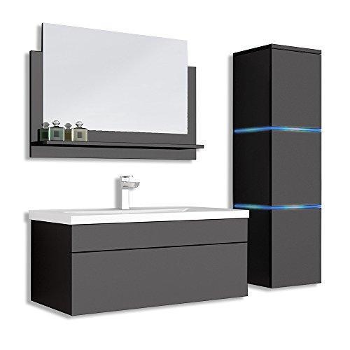 Home Deluxe - Badmöbel-Set - Wangerooge Big schwarz - L - inkl. Waschbecken und komplettem Zubehör - Breite Waschbecken: ca. 80 cm