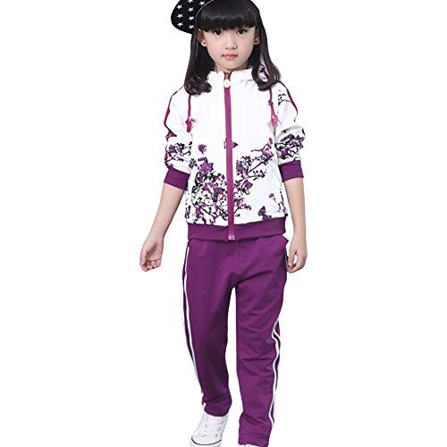 Free Fisher Mädchen 2tlg Bekleidungsset Jacke + Hose, Violett Blume, Violett Blume, 134-140