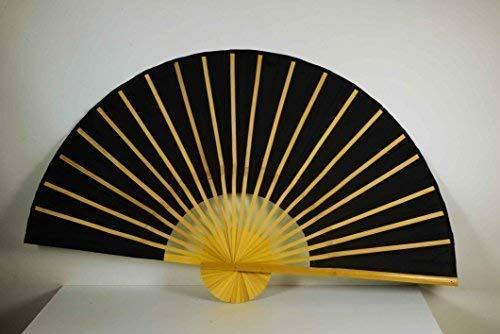 Déco Chine Bambusfächer Noir L: 90cm, Ø : 180cm, Tissu en Polyester