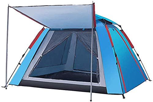 Outdoor 3-4 people tent automatic one room one hall tent family camping tent increase thickening rain camping tent,outdoor adventure, seaside vacation, desert travel, park leisure ( Color : Blue )