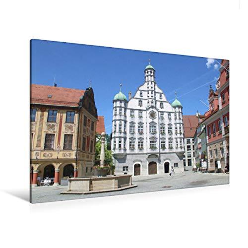 CALVENDO Premium Textil-Leinwand 120 x 80 cm Quer-Format Memmingen - Rathaus, Leinwanddruck von Angelika Keller