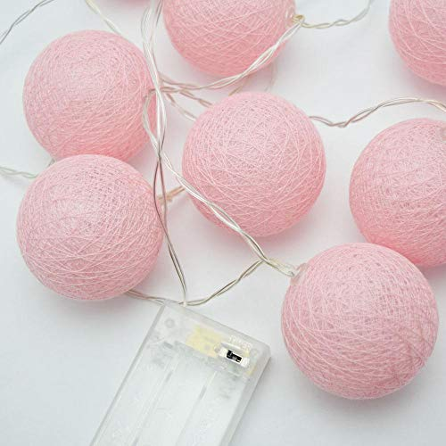 PaperLanternStore.com 10 LED Pink Round Texture Cotton Ball Woven Spun String String Light, 5.5 FT, Battery Operated w/Timer