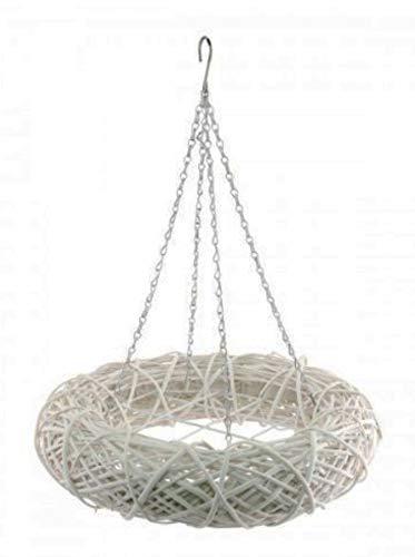 AmaCasa Weidenkranz Braun - Kranz mit Haken und Gitter - Kranz zum dekorieren - Dekokranz D50cm (Weiß)