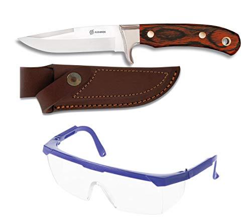 Cuchillo deportivo de monte. Mango Stamina. Hoja acero inox. de 12cm + gafas proteccion