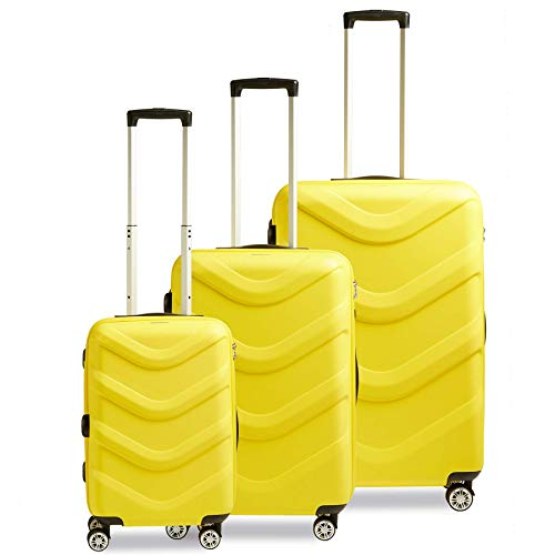 STRATIC Arrow 2 Suitcase Set 3 Pieces Hard Shell Suitcase Trolley Suitcase Travel Suitcase 4 Wheels TSA Combination Lock Yellow