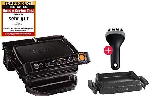 Tefal OptiGrill+ Plus Kontaktgrill + XA7258 Snacking & Baking Backschale und MF Reinigungs-Bürste, 6 Grillprogramme, Ideale Grillergebnisse von blutig bis durchgebraten, Abnehmbare Aluguss-Platten