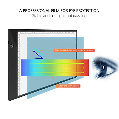 Tracing Light Box,YUNLIGHTS A4 Ultra-Thin Portable Light Board Brightness Adjustable Light Pad with USB Cable for Artists, Sketching, Animation, Designing, Architecture,Great Christmas Gift for Kids