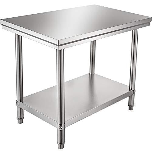 VEVOR Piano di Lavoro per Cucina Professionale 90 x 60 cm, Tavolo da Lavoro da Cucina in Acciaio Inox, Tavolo da Lavoro per Cucina Professionale con Baclsplash