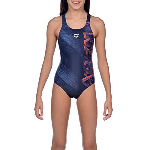 arena Mädchen Sport Badeanzug Draft, navy-Nectarine, 140