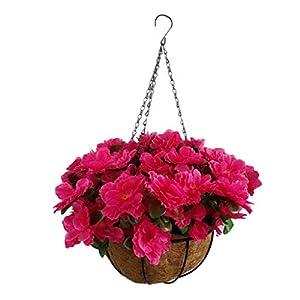 Red Lifelike Fake Flowers Azalea Hanging Basket Artificial Rhododendrons