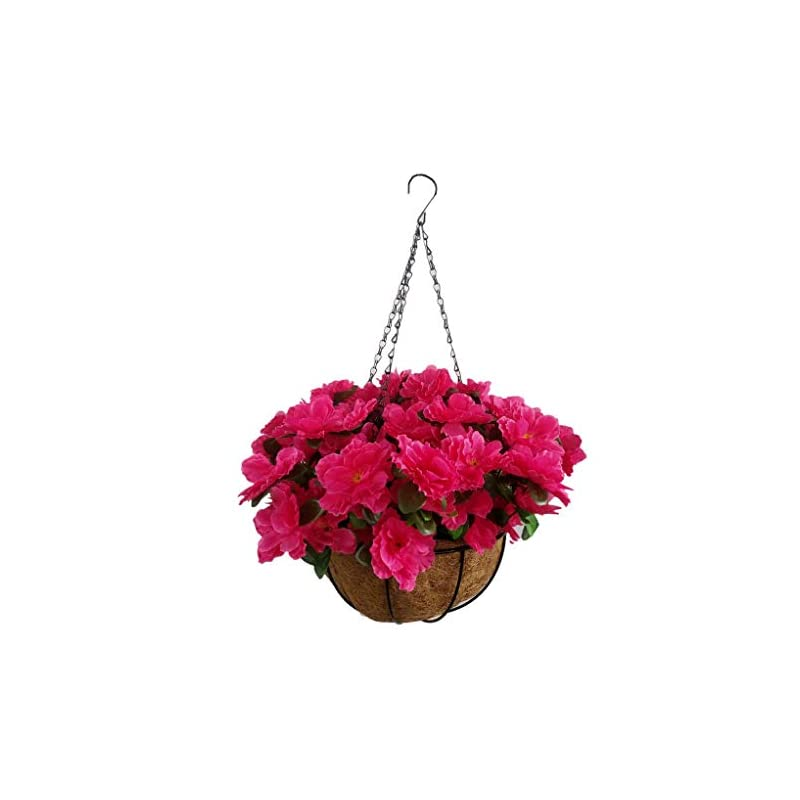 silk flower arrangements red lifelike fake flowers azalea hanging basket artificial rhododendrons (9.85 inch)