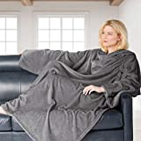 Brookstone NAP Wearable Throw Blanket - Reversible Ultra Soft Polyester Fabric with Sleeves for Your Arms – The Ultimate Blanket for Warmth and Mobility - Gray
