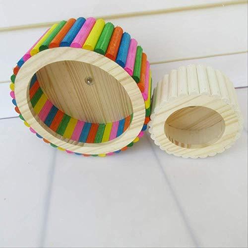 Rotación Noria Rueda Hamsters, Madera, Spinner, Silent Roller Dragon Gato Erizo De Oro Oso Rueda Holandés Cerdo Pet Wheel Run Ball Grande (23 Cm De Diámetro) Color